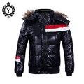 Meninos Jaqueta de Inverno de alta Qualidade Respirável Moda Casual Outwear Roupas Com Capuz Preto Sólido Masculino Parkas Coats Zipper D007
