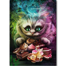 5D DIY Diamond Bordir Dijual Alice Cheshire Cat Persegi Bulat Diamond Lukisan Cross Stitch, daimond, Hallowmas, Hadiah(China)