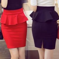 5XL Plus Size Peplum Skirt Office Lady Ruffle Skirt Women Sexy Mini Skirt Pencil With Slit