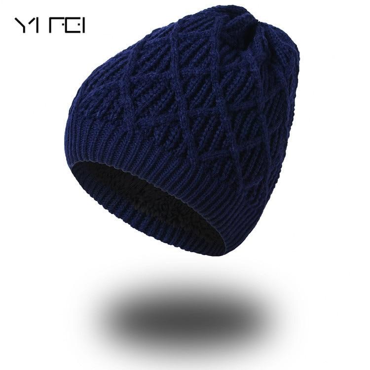 YIFEI Autumn Fashion Beanies Men Warm Thick Skullies Casual Plus Velours Knitted Caps Women Winter Warm Wool Knit Hats skullies