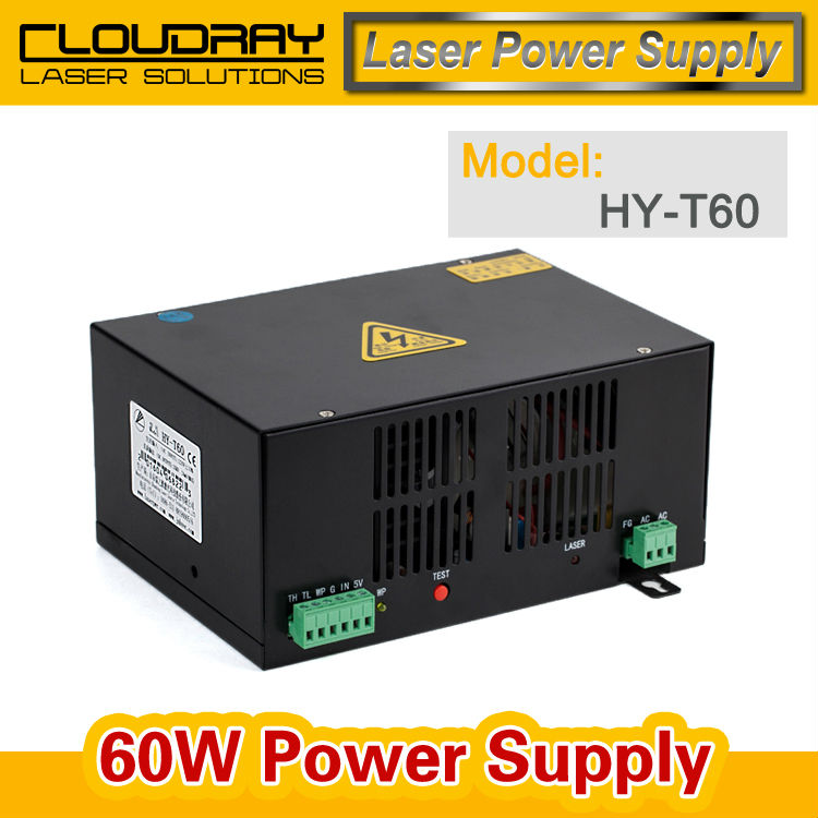 60W CO2 Laser Power Supply for CO2 Laser Engraving Cutting Machine HY-T60 2pcs lot 60w laser power supply psu high voltage flyback hongyuan hy t60 co2 engraving cutting machine ignition coil