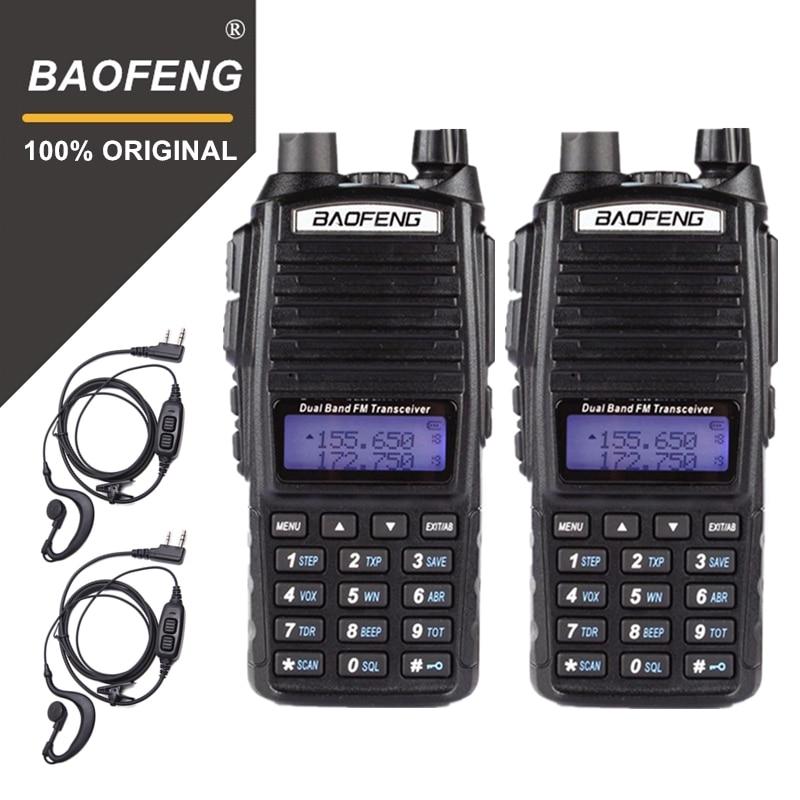 2 pc 100% BaoFeng UV-82 Talkie Walkie 10 km Dual Band 136-174/400-520 mhz FM Ham Deux way Radio Vhf Uhf Longue Portée Émetteur-Récepteur