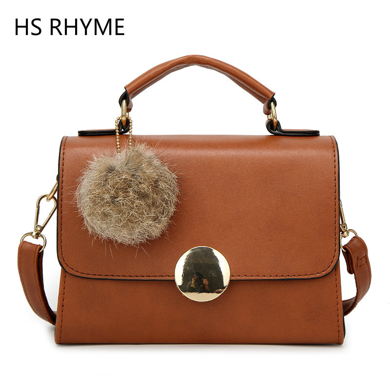 HS RHYME Plush Ball PU Leather Women Handbag Tote Vintage Shoulder Bag Girls for party Small Casual Shopping Women Bag mona lisa pablo picass van gogh mini messenger bag for teenage girls crossboy bag handbag for women history of art small tote