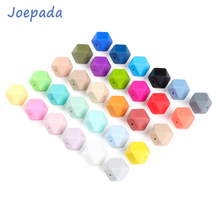 Joepada 100Pcs 14mm Hexagon Silicone Beads Food grade Baby Teething DIY Necklace Accessories Teether
