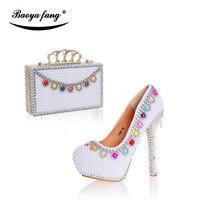 Новые белые жемчужные свадебные туфли с Сумочки в комплекте женские праздничное платье обувь высокий каблук обувь на платформе кожаная сте