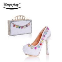 New white pearl wedding shoes with matching bags women party dress shoes high heel platform shoe leather insole