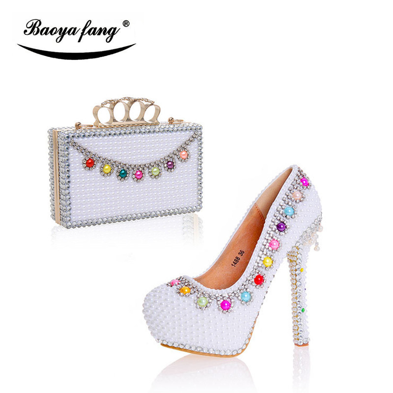 New white pearl wedding shoes with matching bags women party dress shoes high heel platform shoe leather insole набор инструментов koruda kr tk45