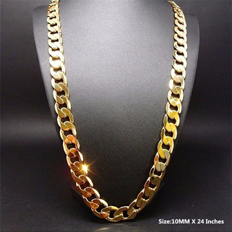 2016 Men Heavy 24 Pure Gold Color Necklace High Quality Filled Curb Link Chain Jewelry