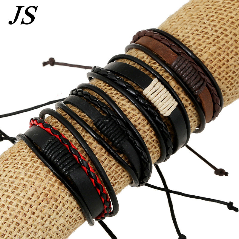 JS Charms Boyfriend Girlfriend Bracelets Vintage Hand Made Genuine Leather Strap Braslet Couple Bracelet Lovers LB025