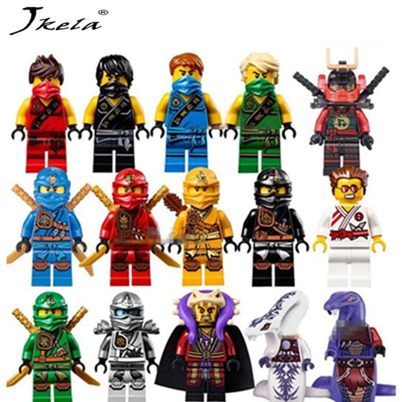 [Hot] 15db / Lot Kompatibilis LegoINGlys NinjagoINGly Cole Kai Jay Lloyd Nya Skylor Zane Pythor Chen Építőelemek Ninja Toys