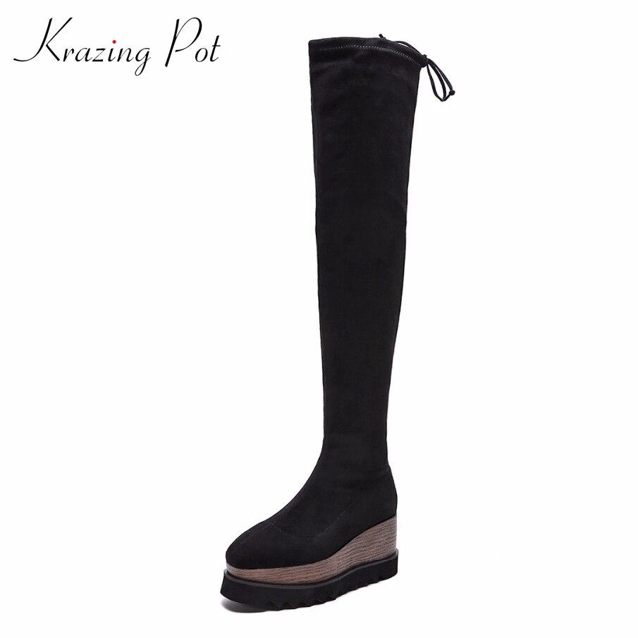 Krazing Pot new flock original designer wedges high heels keep warm streetwear fashion increased stretch over-the-knee boots L31
