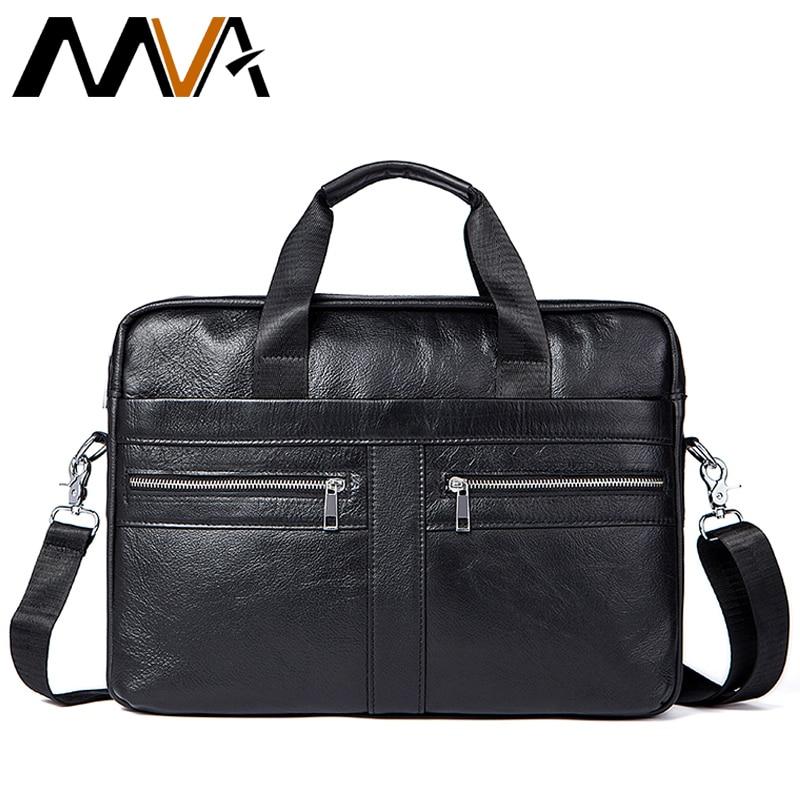 MVA Leather Laptop Bag 14inch Genuine Leather Men Bags Briefcases Handbag Totes Crosssbody Messenger Bags Men