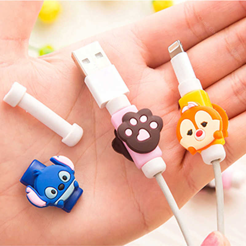 FFFAS קריקטורה USB כבל מגן טלפון קו המותח כיסוי מקרה חוט ארגונית קליפ מחזיק עבור IPhone 4 5 5S 6 6s 7 7s 8 X בתוספת