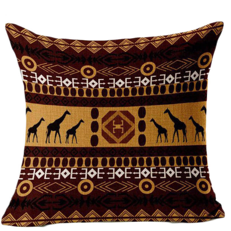 SleepWish Giraffe Party Cushion Cover Bohemian Style Sofa Throw Pillows Pillowcase Linen Home Decor 45cmx45cm Flash Sale