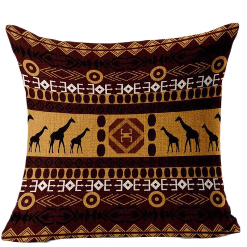 SleepWish Giraffe Party Cushion Cover Bohemian Style Sofa Throw Pillows Pillowcase Linen Home Decor 45cmx45cm Flash Sale