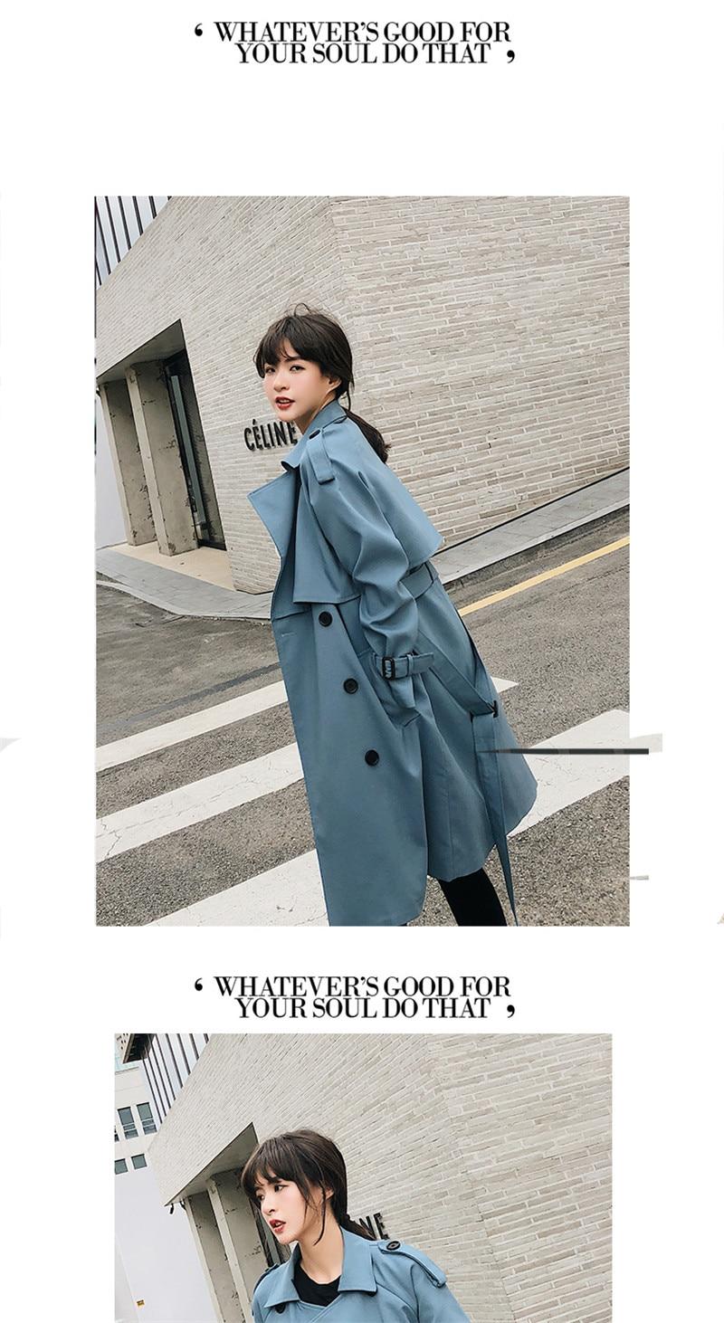Windbreaker Female 19 Spring Autumn new Korean leisure chic loose ladies harbor wind Long Trench Coat for women X509 blue 4