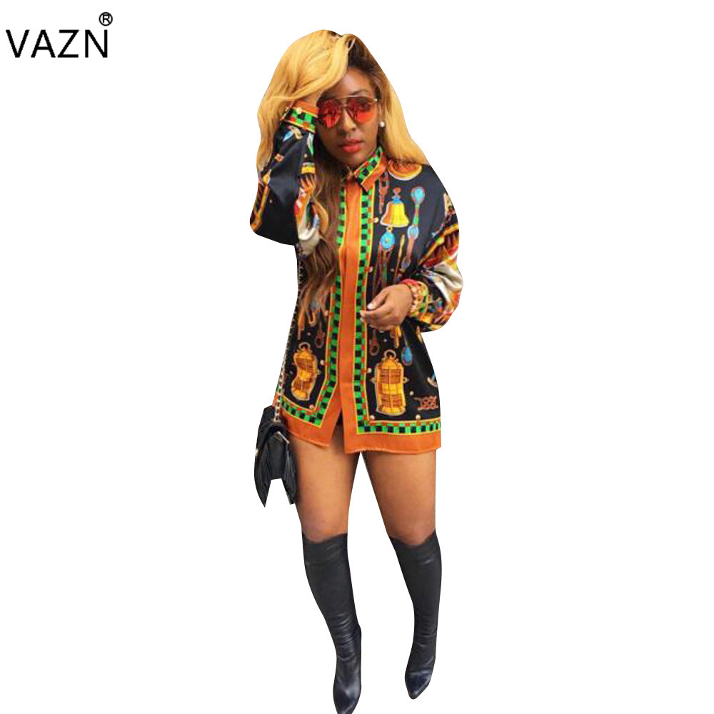 Painstaking Vazn Top Quality New 2017 Bandage Dress Full Sleeve Mini Dress Vestido De Festa Casual Print Dresses L5140 Online Shop