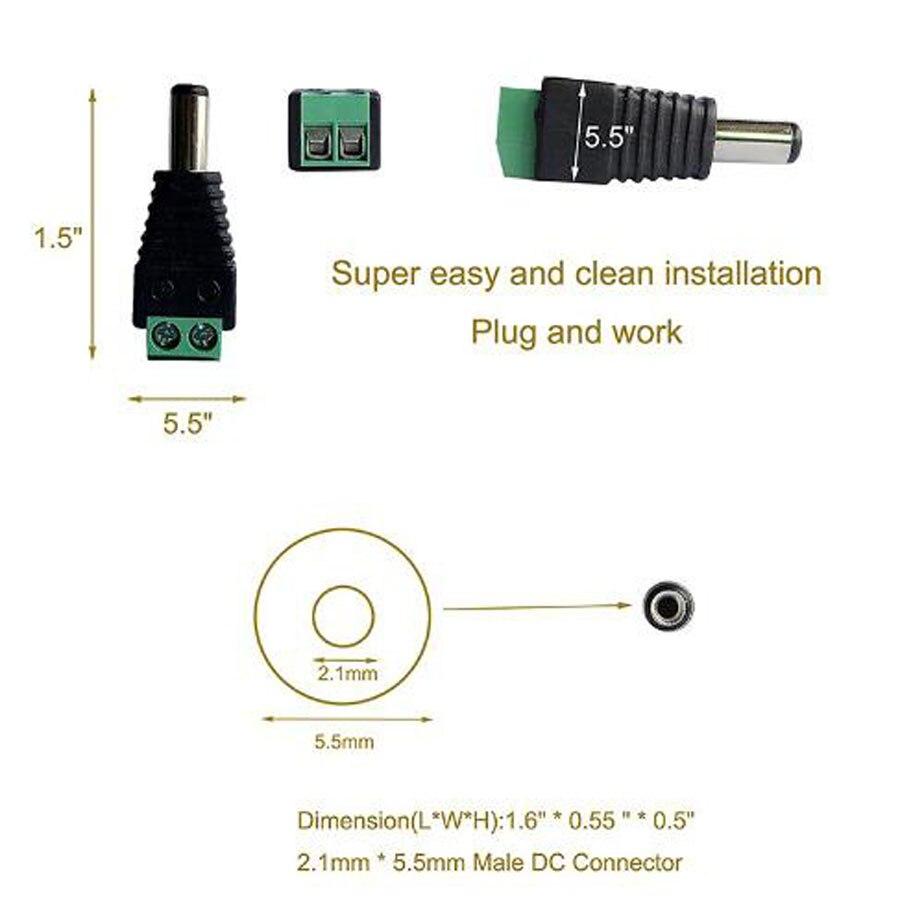 100 ×男性+ 100 ×メス2.1 × 5.5ミリメートルdc電源ケーブルジャックアダプタコネクタプラグledストリップcctvカメラを使用12ボルト  グループ上の ライト & 照明 からの コネクタ の中 2