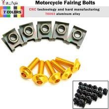 5pcs 6mm CNC Motorcycle Fairing body work Bolts Screws For honda cbr 600 f4i cb400 s2000 yamaha mt-07 mt-09 mt07 mt09 mt 07 09 5pcs 6mm cnc motorcycle fairing body work bolts screws for ktm 950 adventures 03 04 05 06 400 xc w rc390 rc8