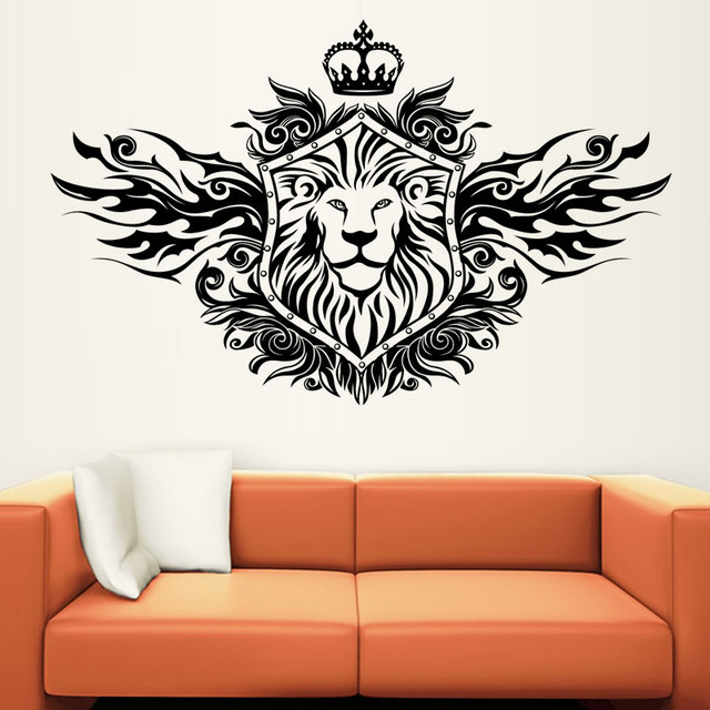 Exceptionnel Fashionable Home Decor Black Printed Hollow Out PVC Waterproof Crown Lion  Shield Wall Sticker For Living