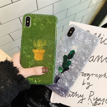Lovely flowers plant phone case For iphone x xr xs Max sparkling cactus 6 6s 7 8plus soft shell protection