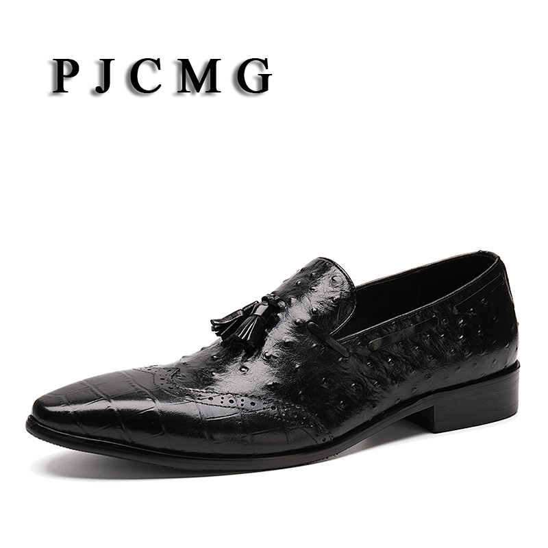 PJCMG Fashion Black/Red Mens Flats Oxfords Lace-Up Crocodile Pattern Tassel Genuine Leather Business Dress Men Shoes top quality crocodile grain black oxfords mens dress shoes genuine leather business shoes mens formal wedding shoes