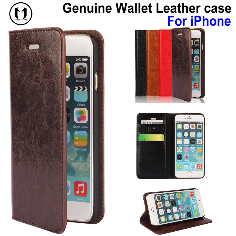 Mobfone Cover for iPhone 6 6S / 6S Plus / 7 Plus / 8 Plus / iP X Genuine Luxury Leather Case Flip Wallet ID Card Slot Phone Bag