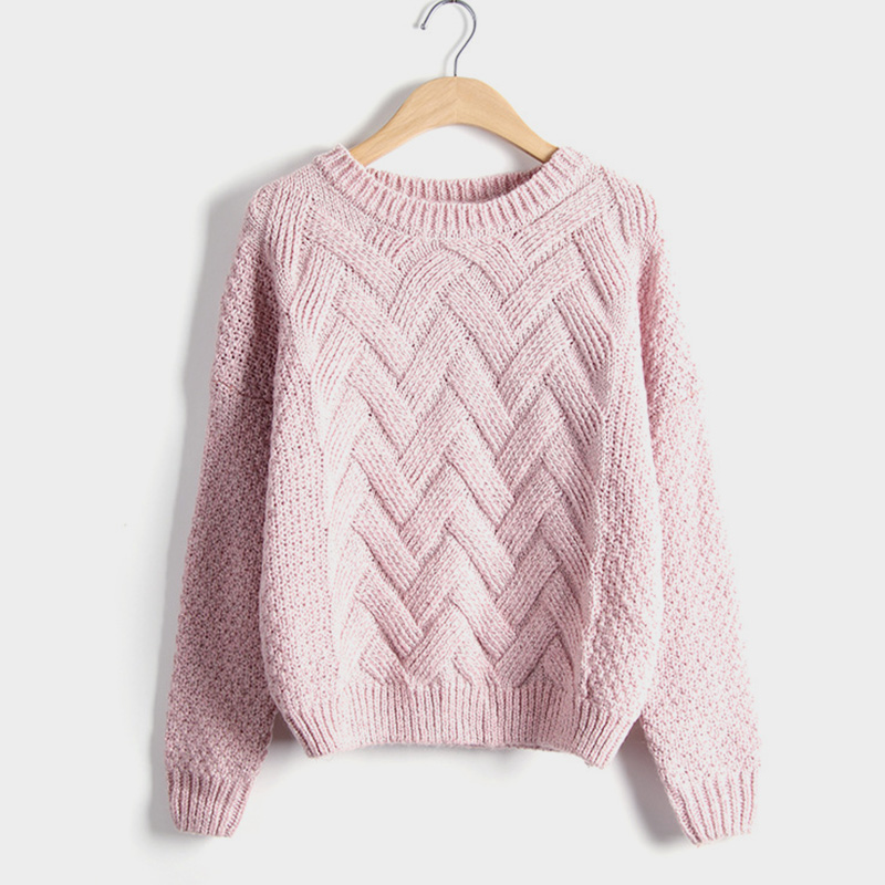 Winter O Neck Womens Sweater Knitted Thick Warm Pink Gray Pullover