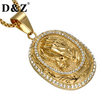 D Z Vintage Iced Out Bling Full Rhinestone Praying Hands Pendants Necklaces Gold Silver Tone Prayer