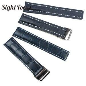 Image 3 - Calfskin pulseira de relógio de couro, pulseira de couro para respiração 20mm 22mm 24mm, pulseira de couro preto, marrom, azul pulseira masculina