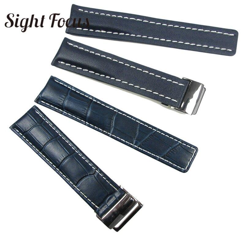 Image 3 - Couro de bezerro pulseiras de relógio para breitling pulseira de  relógio 20mm 22mm 24mm pulseira de couro preto marrom azul cinto  pulseira masculinoPulseira do relógio
