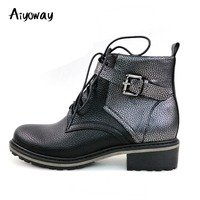 Aiyoway 2018 New Unisex Women Man Round Toe Low Heel Lace Up Buckle Ankle Boots Winter Autumn Casual Patchwork Booties