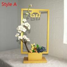 Creative New Chinese Wrought Iron Desktop Flower Decoration Frame Desk Porch Retro Stand