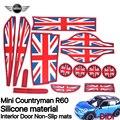 14 pçs/set MINI COOPER countryman R60 interior TAPETES De Silicone ANTIDESLIZANTE Almofadas almofadas de Estilo Britânico carro interior acessórios práticos