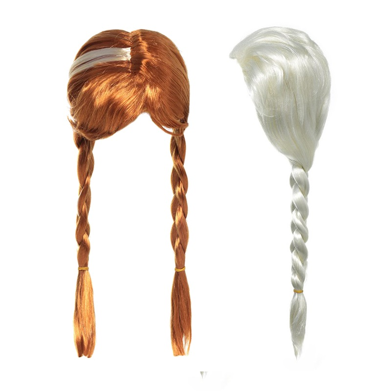 VOGUEON Girl Photography Props Wig Kids Princess Dress up Party Supply Elsa Anna Aurora Belle Mermaid Jasmine Rapunzel Moana Wig girls fairy tale princess synthetic wavy wig children elsa belle rapunzel moana aurora anna mermaid party braid cosplay hair wig