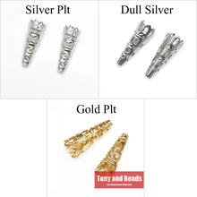 (50Pcs=1Lot ! ) Free Shipping Jewelry Finding 9x22MM Bugle Filigree Bead End Cap Cone Gold Silvers Bronze Nickel Plated No.BC8