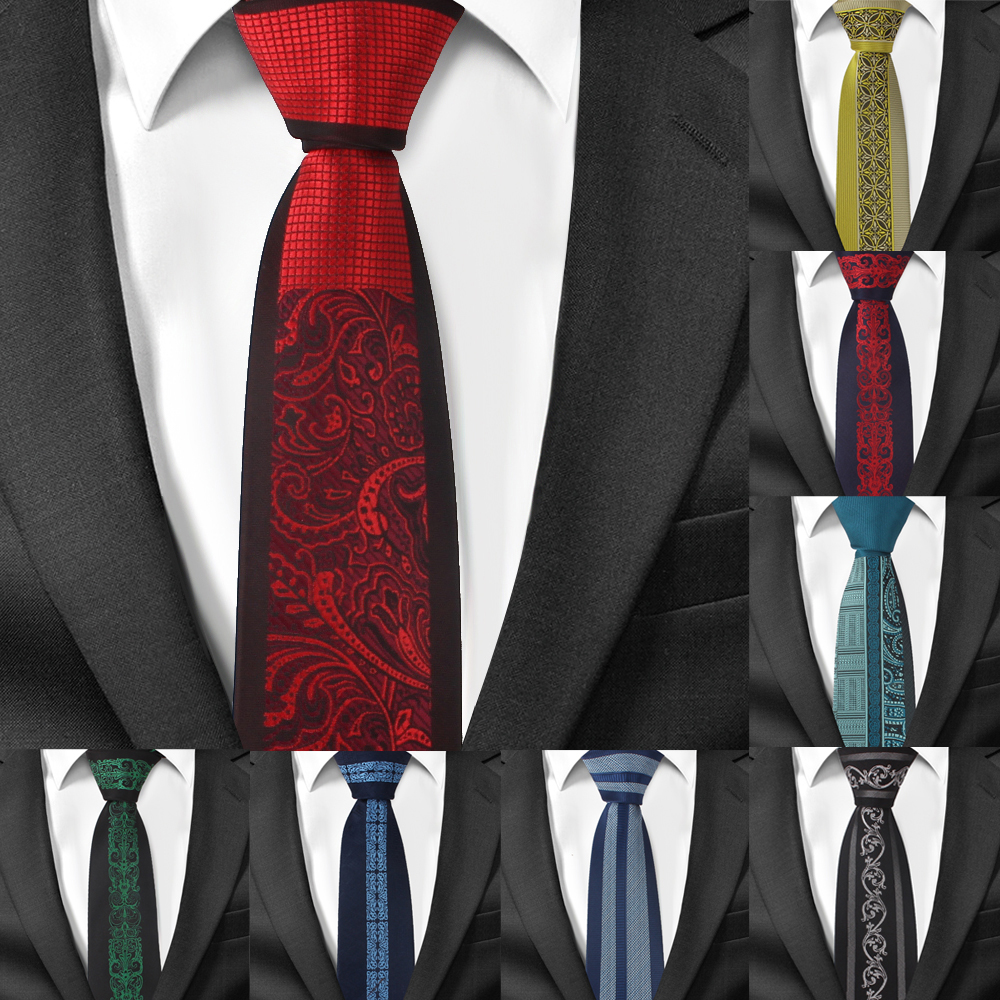 Fashion Skinny Neck Ties For Men Casual Suits Tie Gravatas Blue Mens Neckties For Business Wedding 6cm Width Slim Men Ties