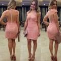 Vestidos De Renda Short Sleeve Pink Cocktail Dresses Sexy Rude Style Prom Party Gowns Robe De Fetsa 2017
