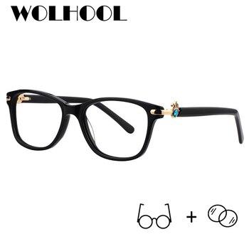 2deadab12a Gafas de prescripción de acetato cuadrado para mujeres claro azul claro  bloqueo de la luz miopía gafas de hiperopía gafas ópticas 2019 gafas