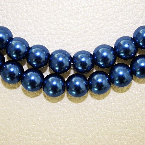 8 мм 30 шт белый черный зеленый фиолетовый Круглые Стеклянные Перламутровые Бусины много цветов на выбор PS-BBD012 - Цвет: DK Blue