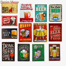 Ice Cold Beer Vintage Metal Tin Signs Cheers Free  Shabby Chic Plaque Bar Pub Casino Decoration Painting Art Posters WY52