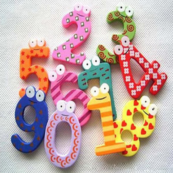 10 Pieces Number 0-9 Wooden Fridge Magnet Kids Math Toys Cartoon Animal Numbers Educational Number Learning Toys For Baby Gift
