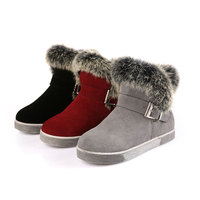High Quality Colorful Winter Girls Boots Rubber Boots Baby Snow Boots Soft Plush Fur Buckle Girls Boots Winter Red Black Gray