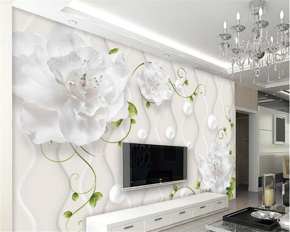 Beibehang Custom wallpaper 3D flowers Circle butterfly TV