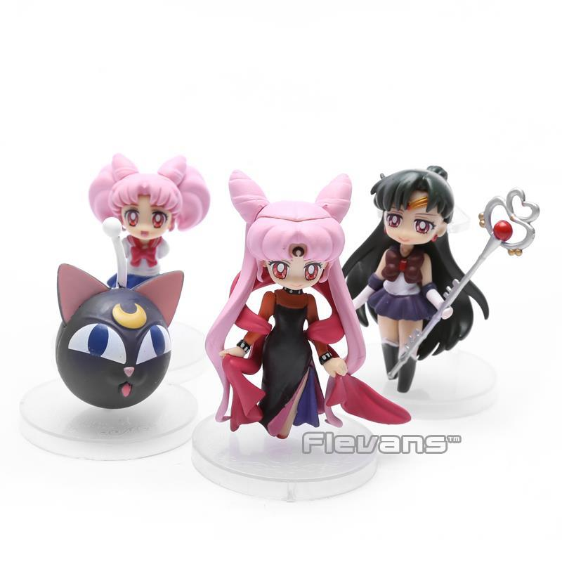 Anime Sailor Moon Sailor Pluto Sailor Chibi moon Small Lady Black Lady PVC Action Figure Toys 8cm 4pcs/set