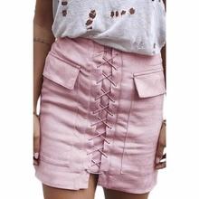 Wei JiXiong Women's Vintage High Waist External Pocket Tight Suede Lace Up Skirt Autumn Winter Thick  Skirt Preppy Mini Skirt