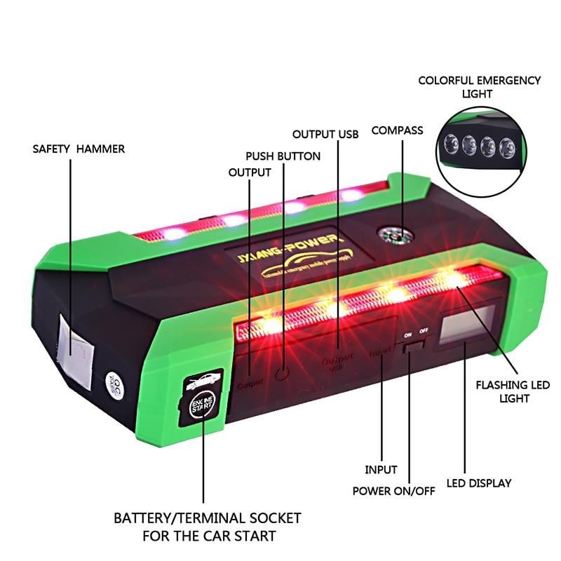 Für 6L Benzin 4L Diesel-74000mWh Auto Starthilfe 800A spitzen Auto Batterie Netzteil 12 V Auto Ladegerät Tragbare Startvorrichtung