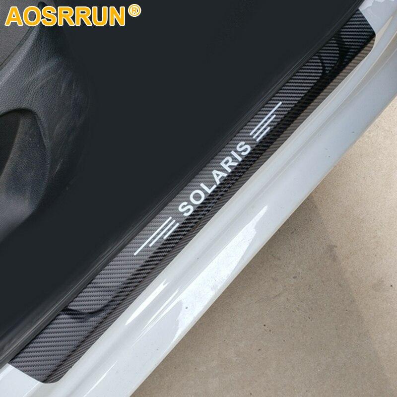 AOSRRUN PU Leather Door Sill Scuff Plate Car Accessories For Hyundai Solaris Sedan Hatchback 2012-2015 2016 2018 2014
