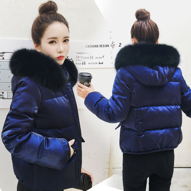 Women's Down Jacket Short   Parka   Fur Collar Winter Jacket Women Fashion Hooded White Duck Down Winter Coat Manteau Femme C3828