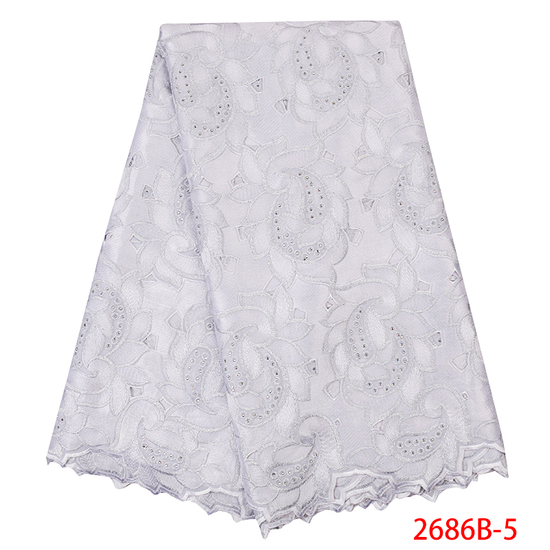 African Lace Fabric 2019 High Quality Swiss Voile Laces Cotton Embroidered Nigerian Lace Fabric for Women White KS2686B-5